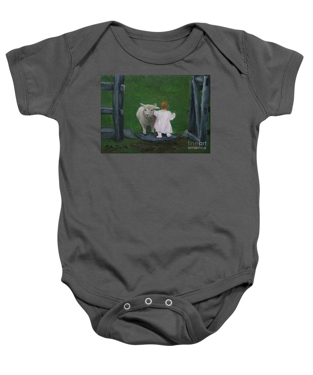 Sheep Baby Onesie featuring the painting Maddy And Her Friend by Timothy Smith