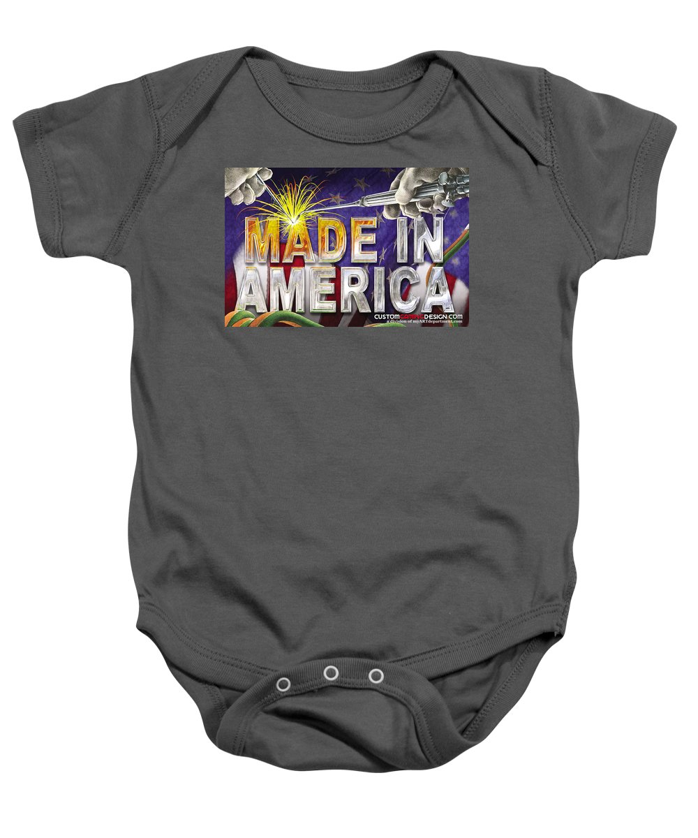 Made In America Baby Onesie featuring the digital art Made In America by Cindy D Chinn