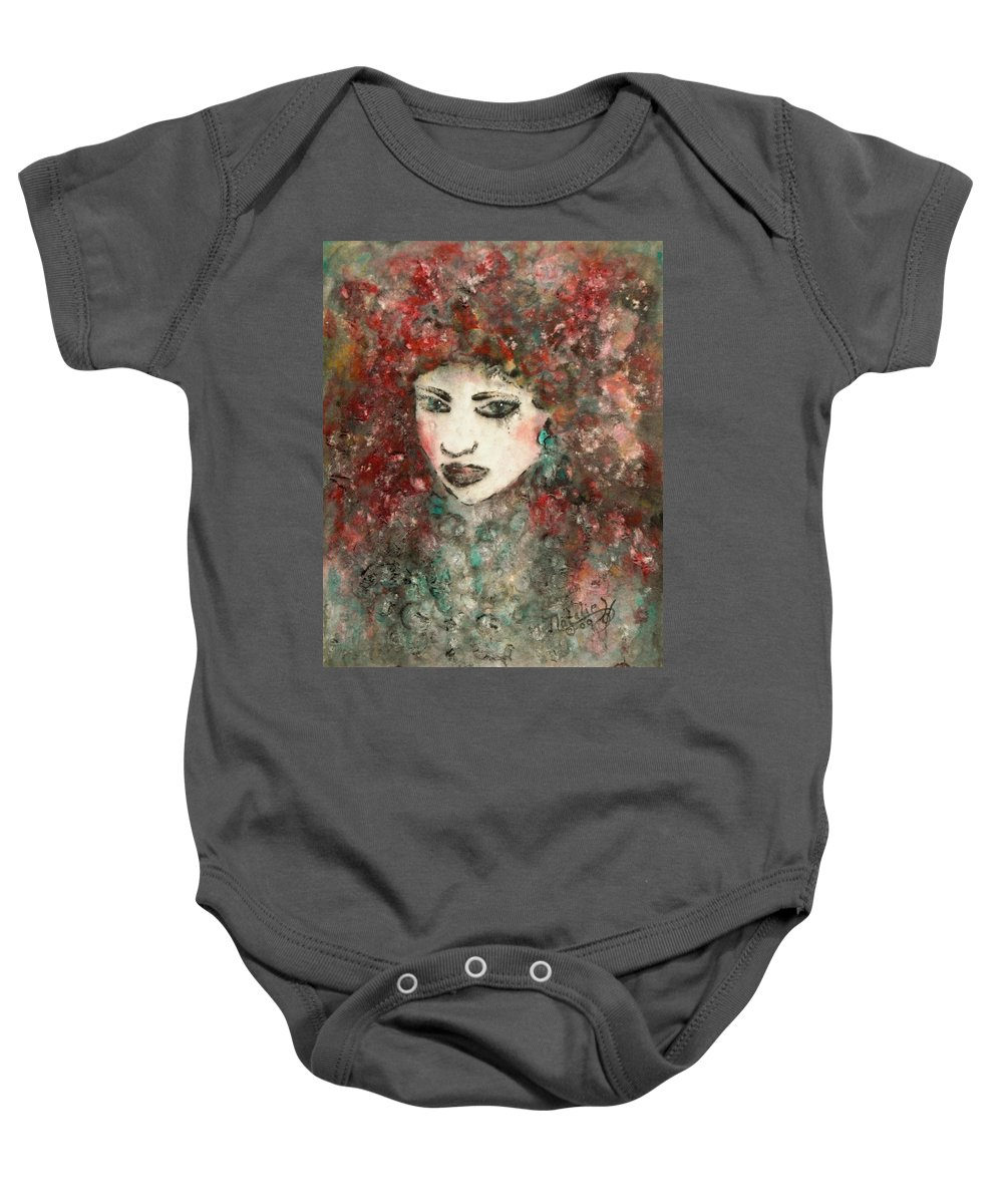 Mademoiselle Baby Onesie featuring the painting Mademoiselle by Natalie Holland