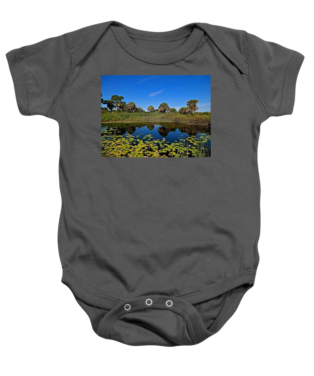 Waterlily Baby Onesie featuring the photograph Magical Pond With Water Lilies by Joe Wyman