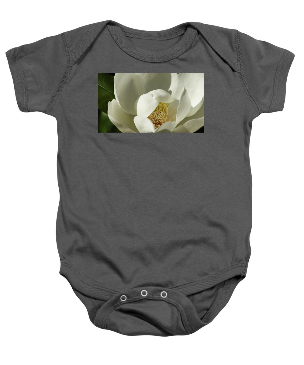 Flower Baby Onesie featuring the photograph Magnolia by Cathi Abbiss Crane