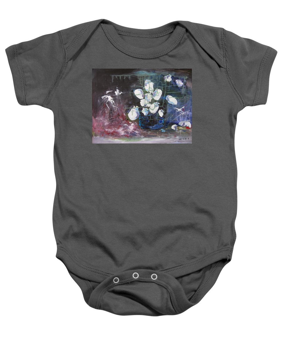 Abstract Paintings Baby Onesie featuring the painting Magnolia by Seon-Jeong Kim