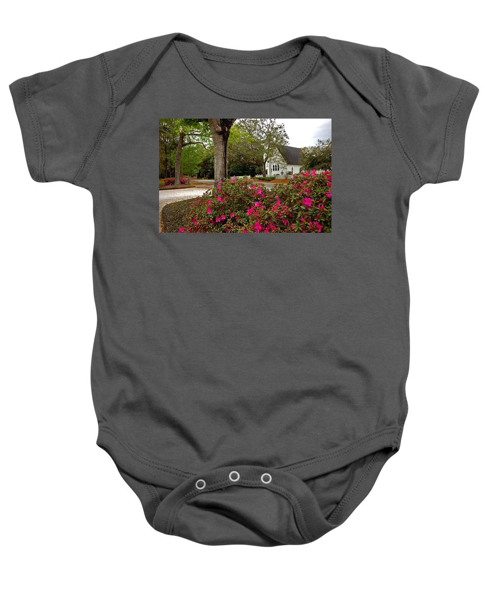 Magnolia Springs Baby Onesie featuring the painting Magnolia Springs Alabama Church by Michael Thomas