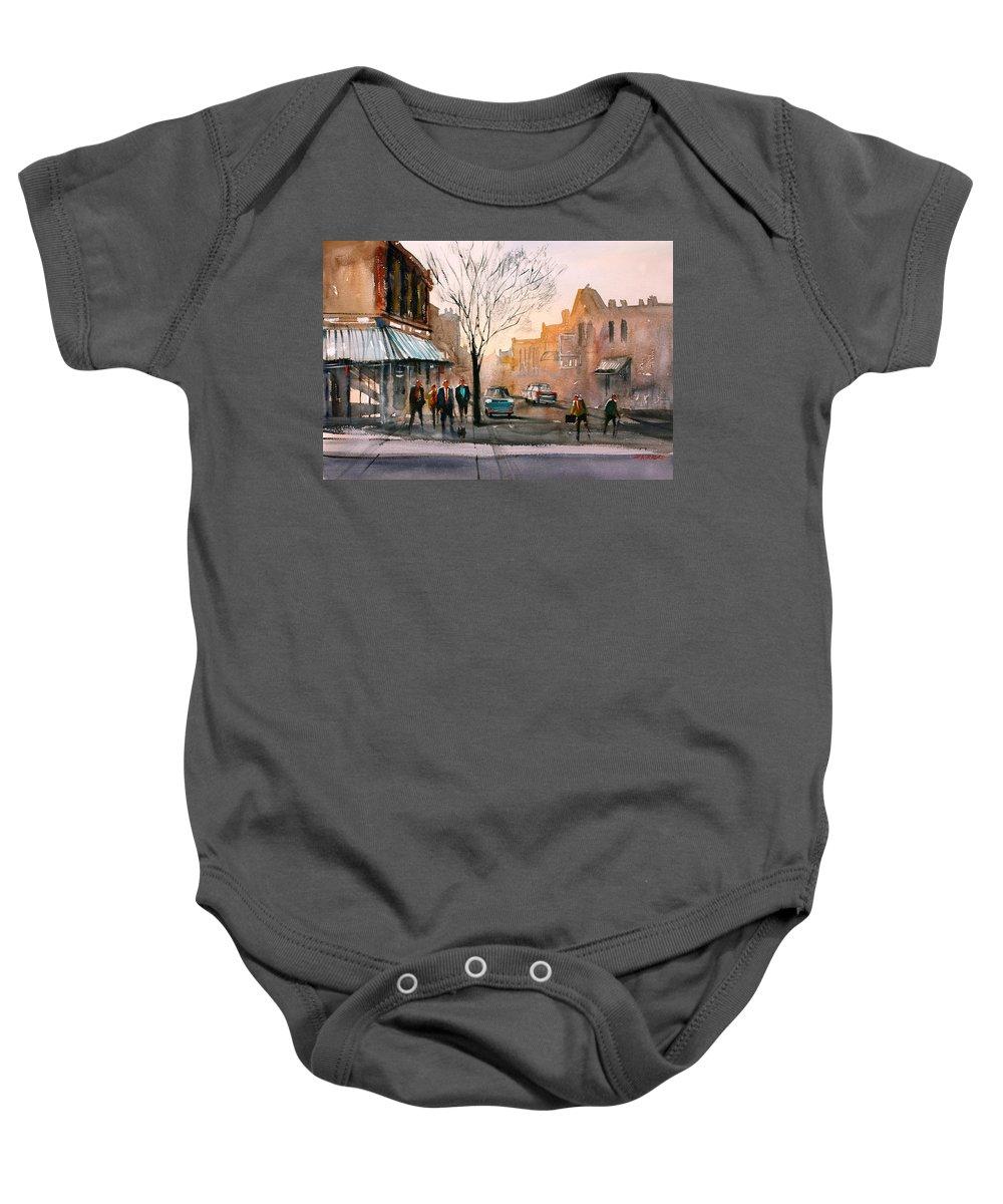 Street Scene Baby Onesie featuring the painting Main Street - Steven's Point by Ryan Radke