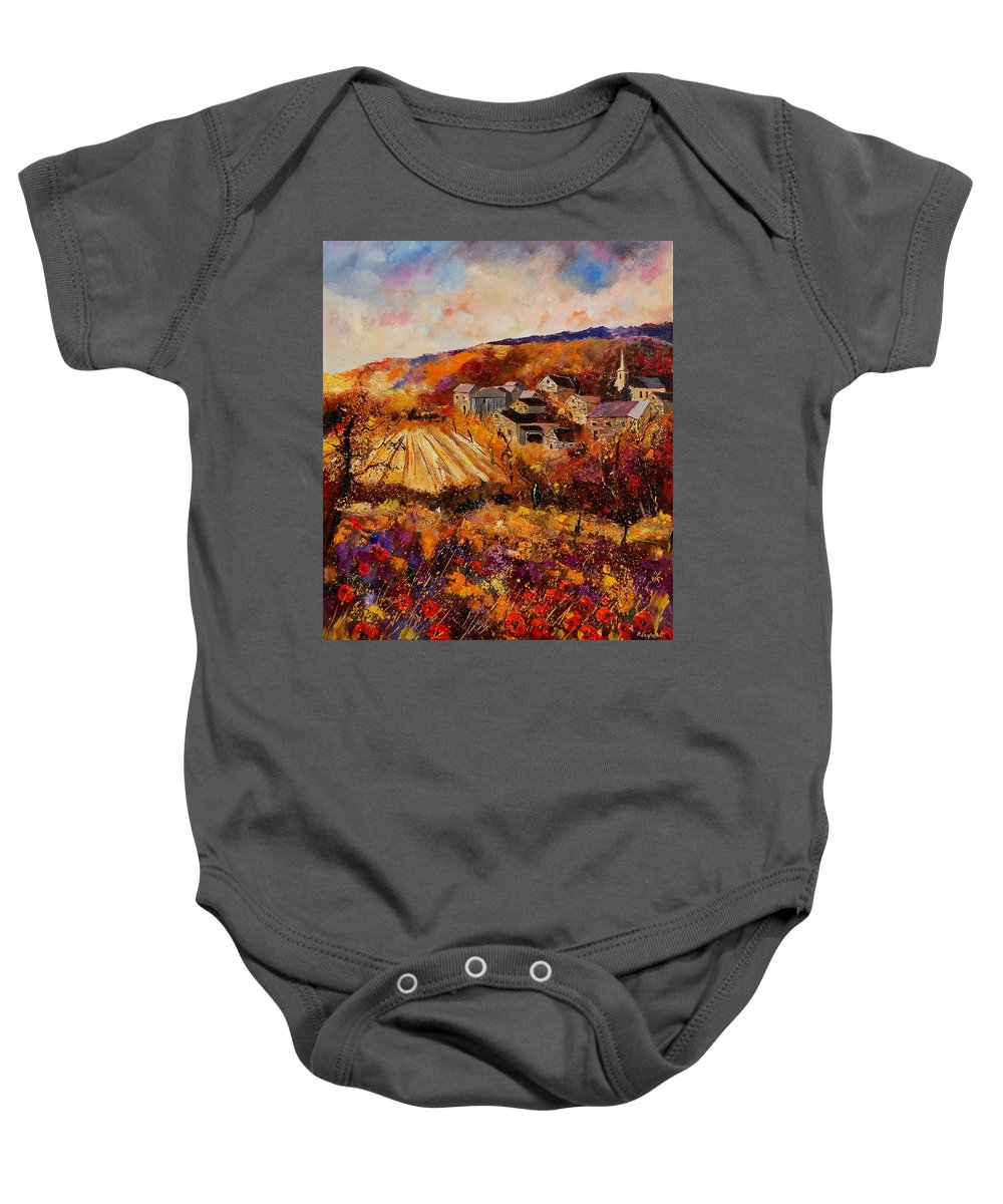 Poppies Baby Onesie featuring the painting Maissin by Pol Ledent