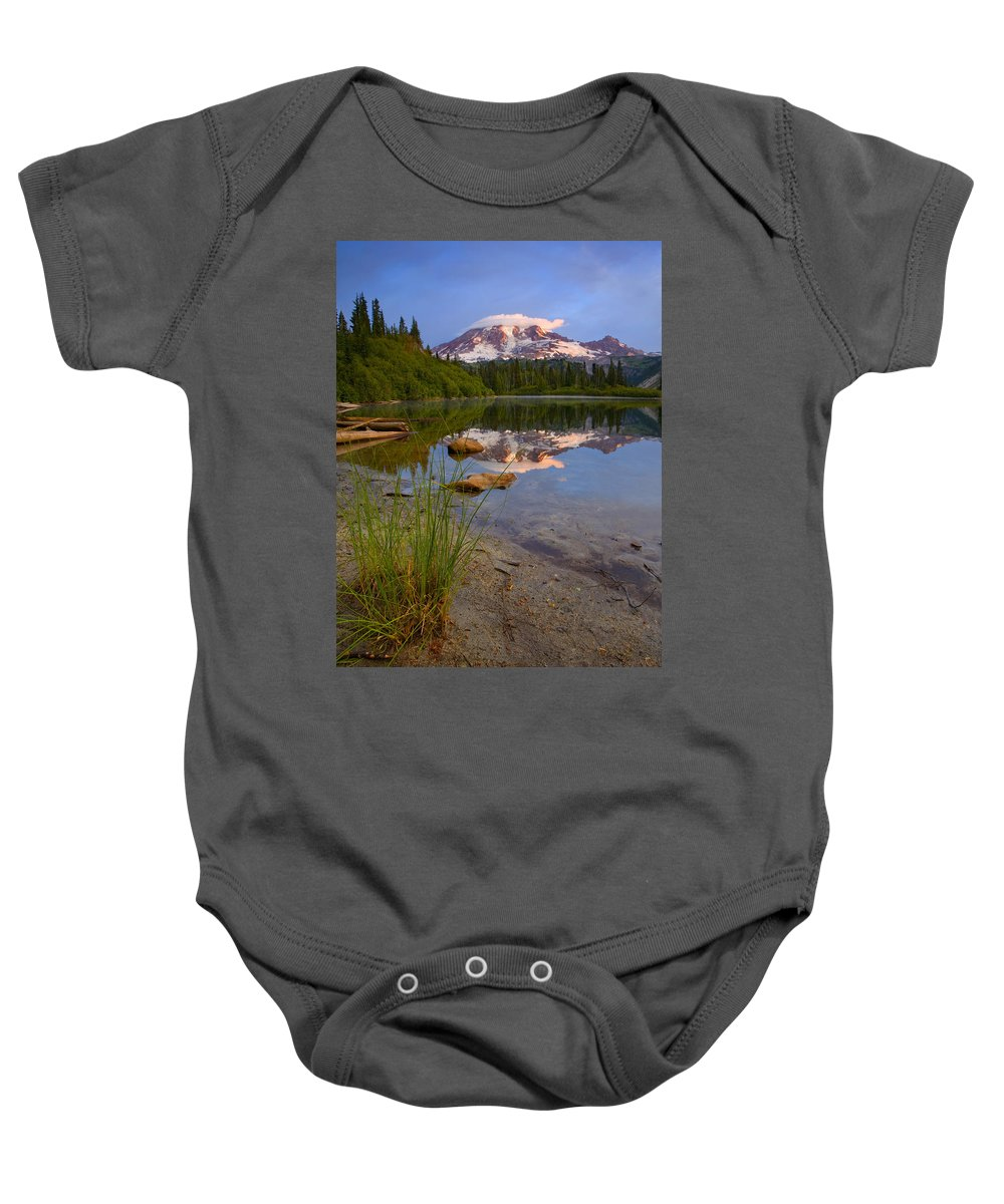 Mt. Rainier Baby Onesie featuring the photograph Majestic Glow by Mike Dawson