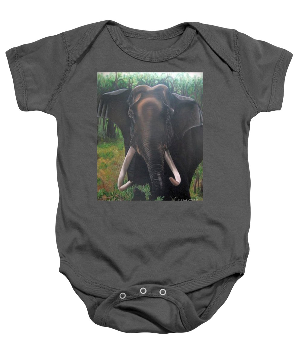Elephant Baby Onesie featuring the painting Majestic by Usha Rai