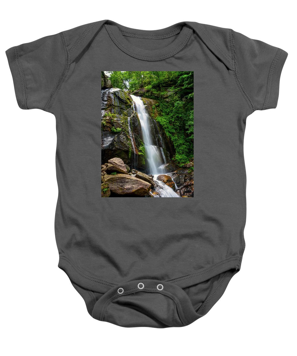 South Mountain State Park Baby Onesie featuring the photograph Majestic Waterfall by Kathy Kmonicek