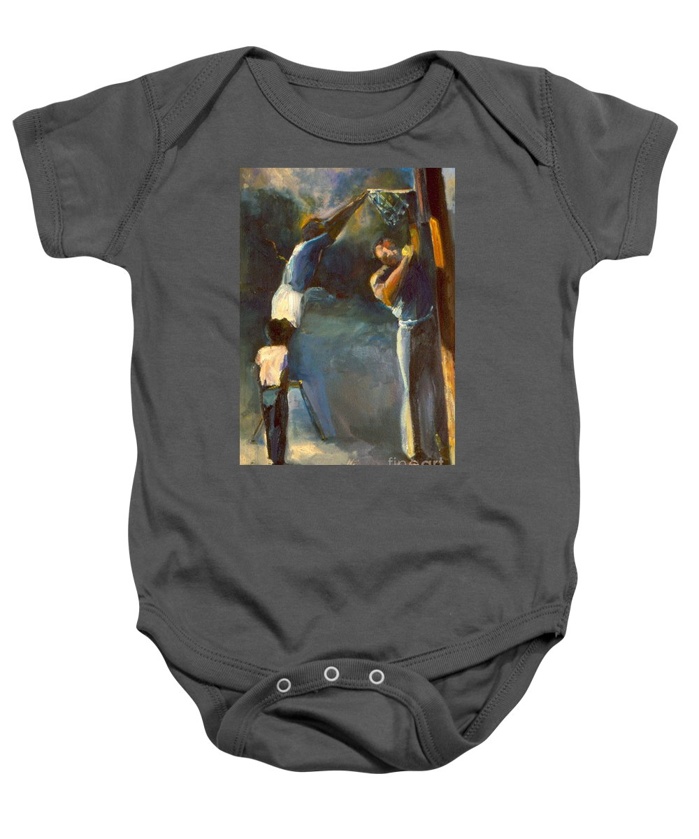 #oil Painting# Baby Onesie featuring the painting Makin Basketball by Daun Soden-Greene