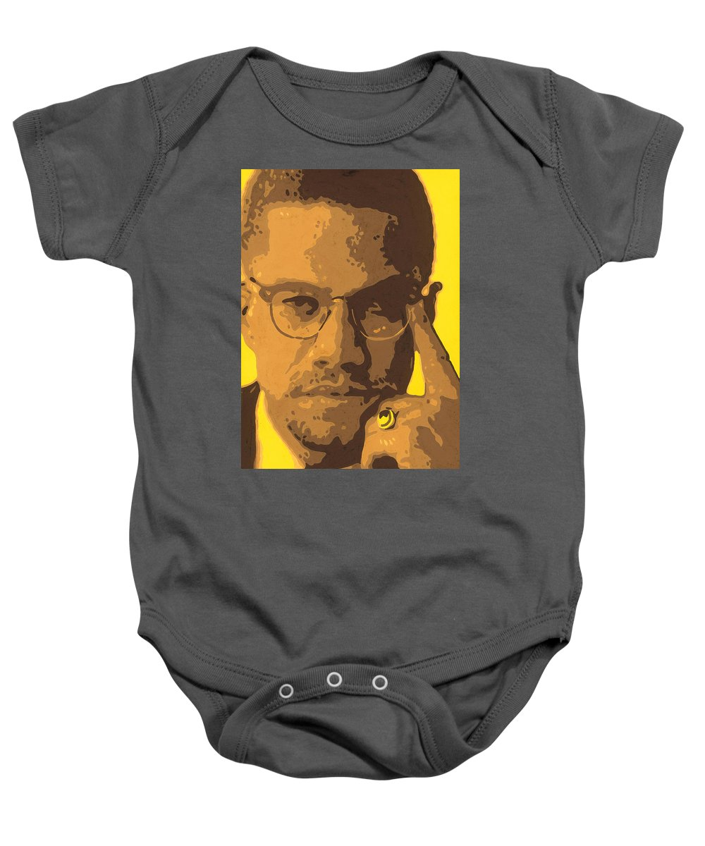 Malcolm Baby Onesie featuring the painting Malcolm El Afroxicano by Roberto Valdes Sanchez