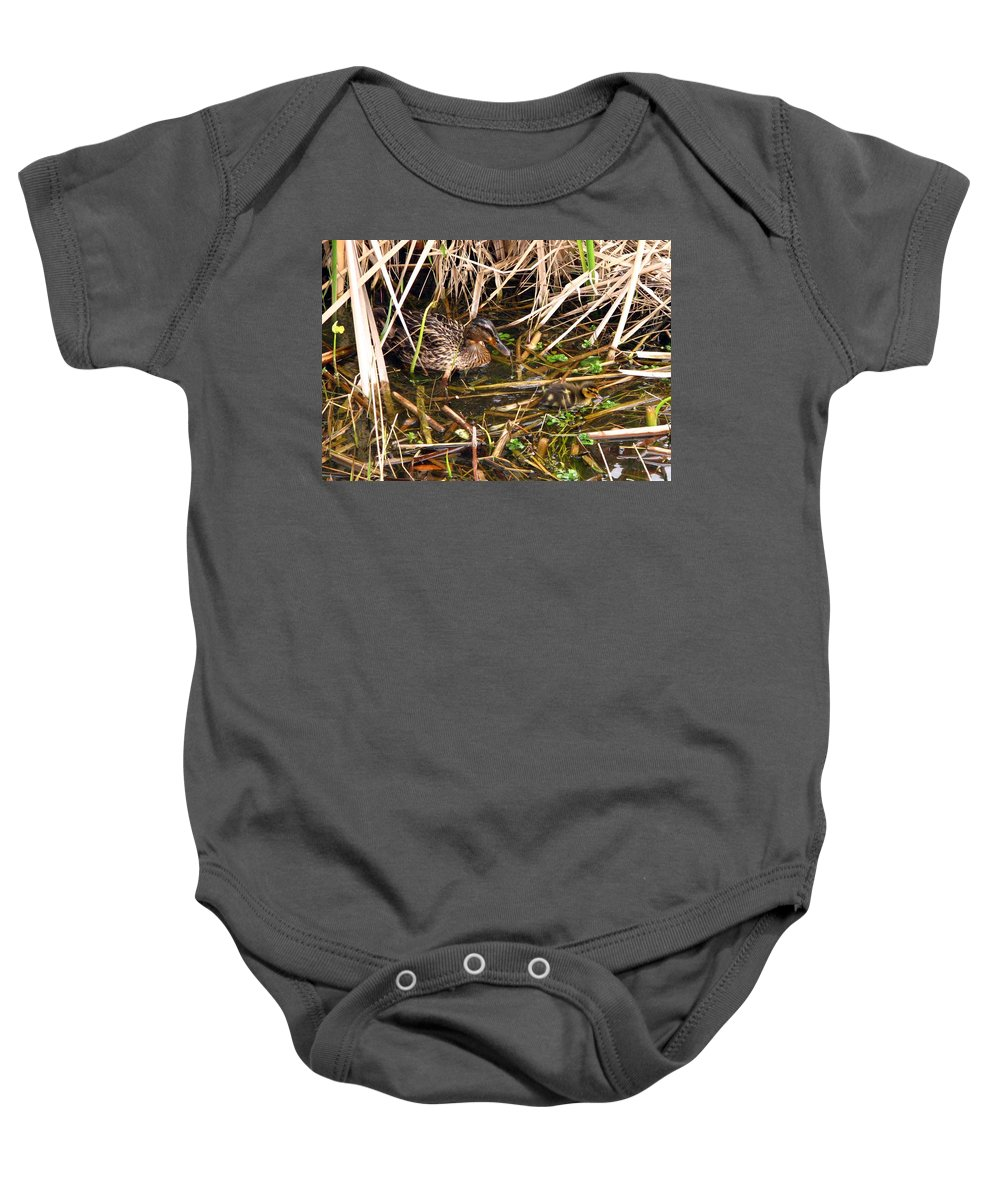 Duck Baby Onesie featuring the photograph Mallard Mama With Duckling by J M Farris Photography