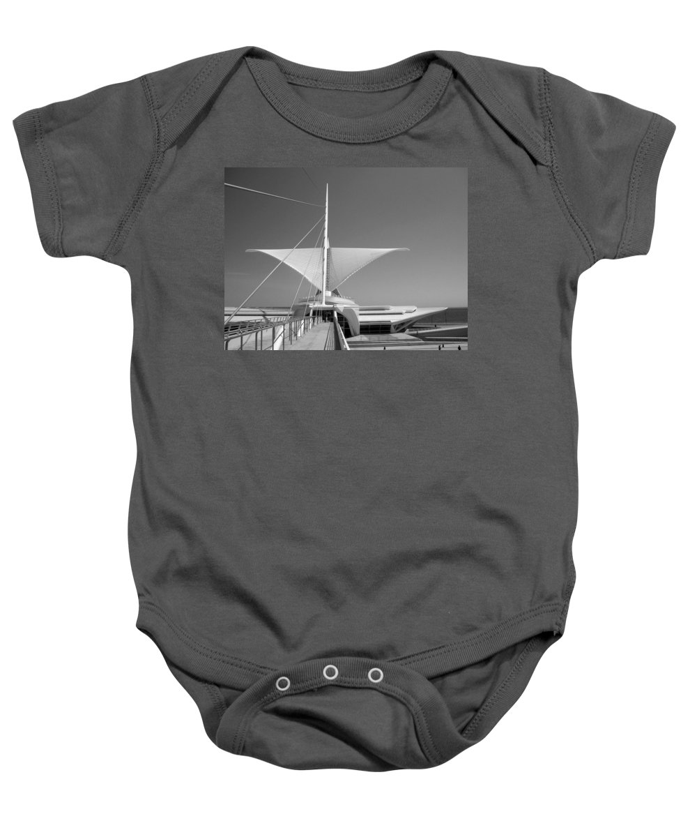 Mam Baby Onesie featuring the photograph Mam Wings Spread B-w by Anita Burgermeister