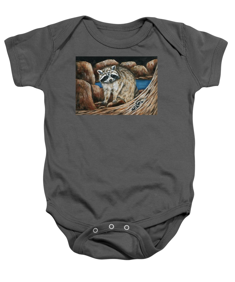 Racoon Baby Onesie featuring the painting Mama Racoon by Ruth Bares