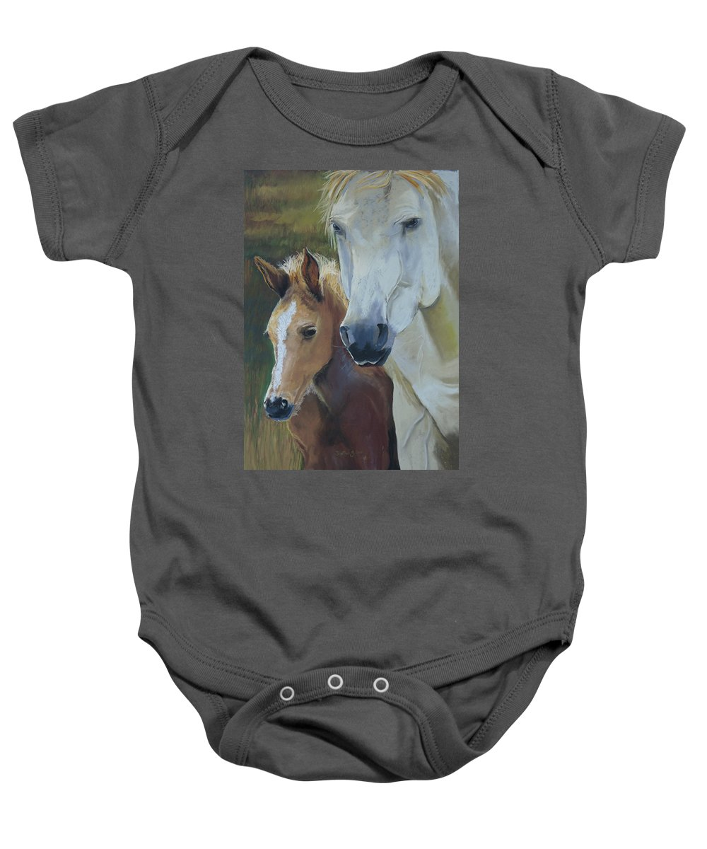 Horses Baby Onesie featuring the painting Mama's Boy by Heather Coen