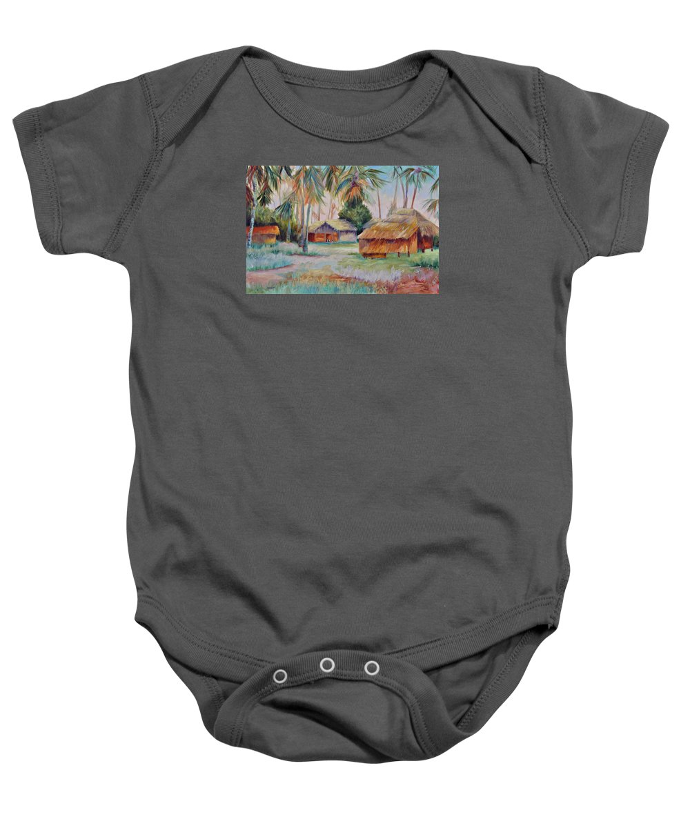 Mambasa Baby Onesie featuring the painting Hut Village in Mambasa by Ginger Concepcion