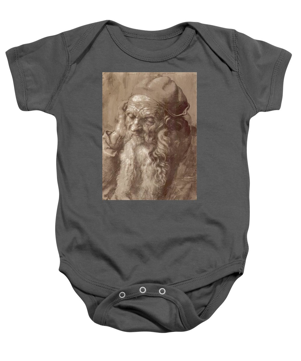 Man Baby Onesie featuring the painting Man Aged 93 Brush Ink On Paper 1521 by Durer Albrecht