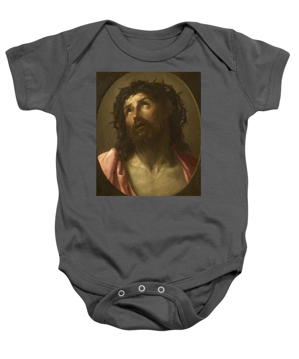 Man Baby Onesie featuring the painting Man Of Sorrows by Reni Guido