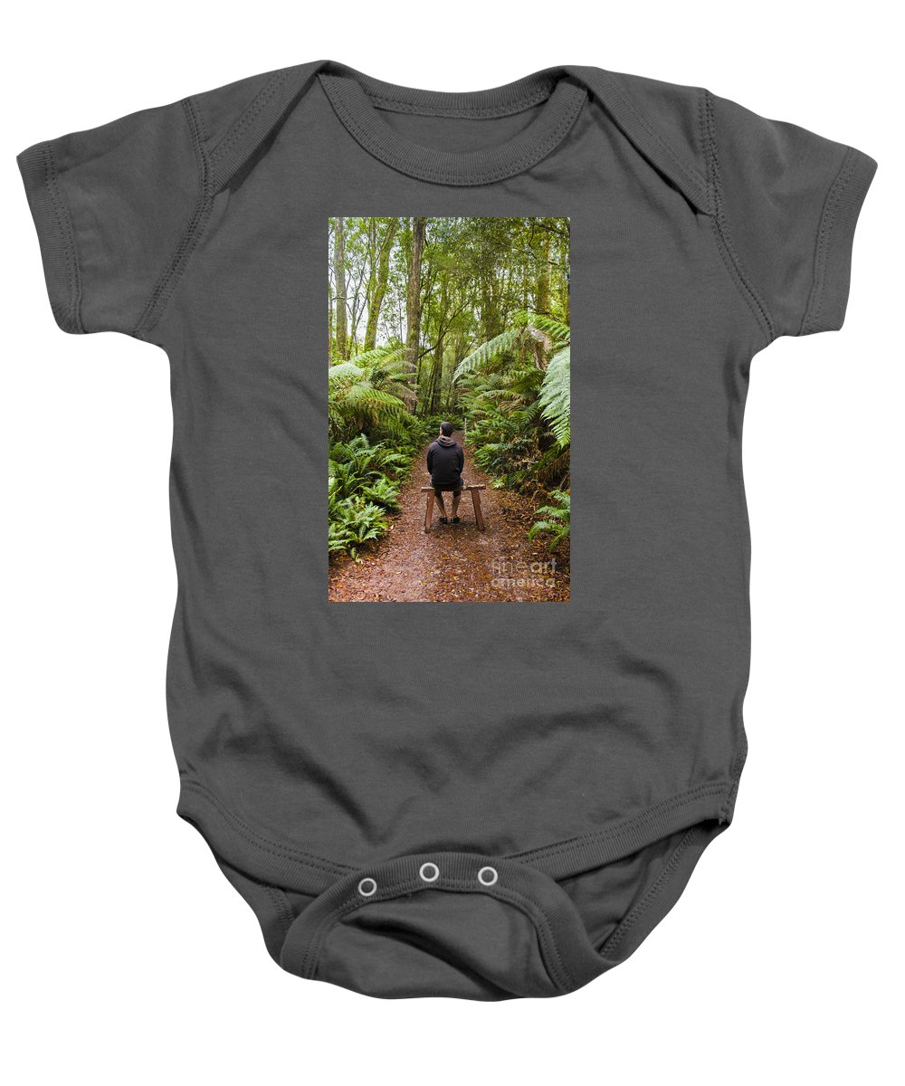 Tasmania Baby Onesie featuring the photograph Man Relaxing In Strahan Rainforest Retreat by Jorgo Photography - Wall Art Gallery