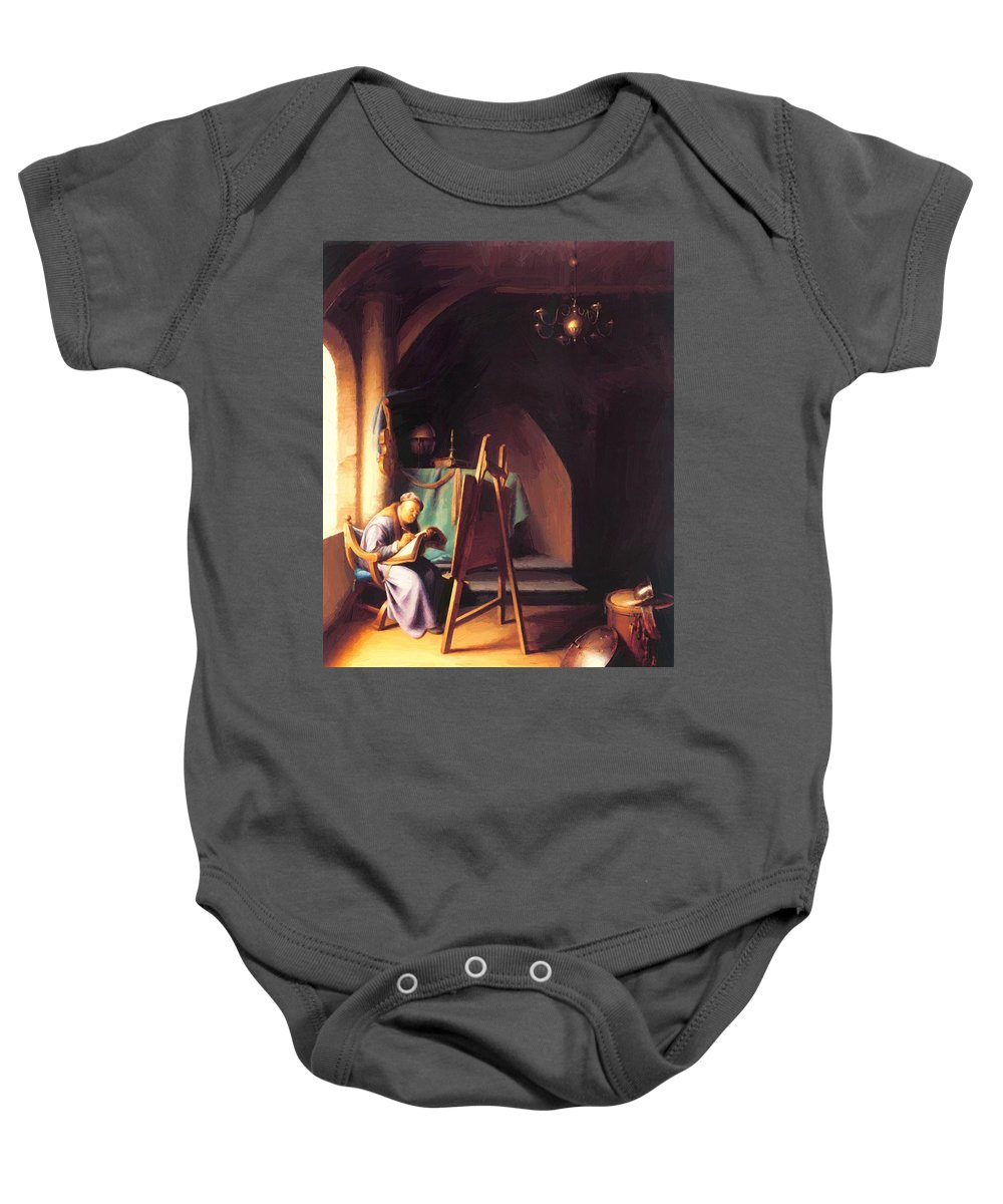 Man Baby Onesie featuring the painting Man With Easel by Dou Gerrit