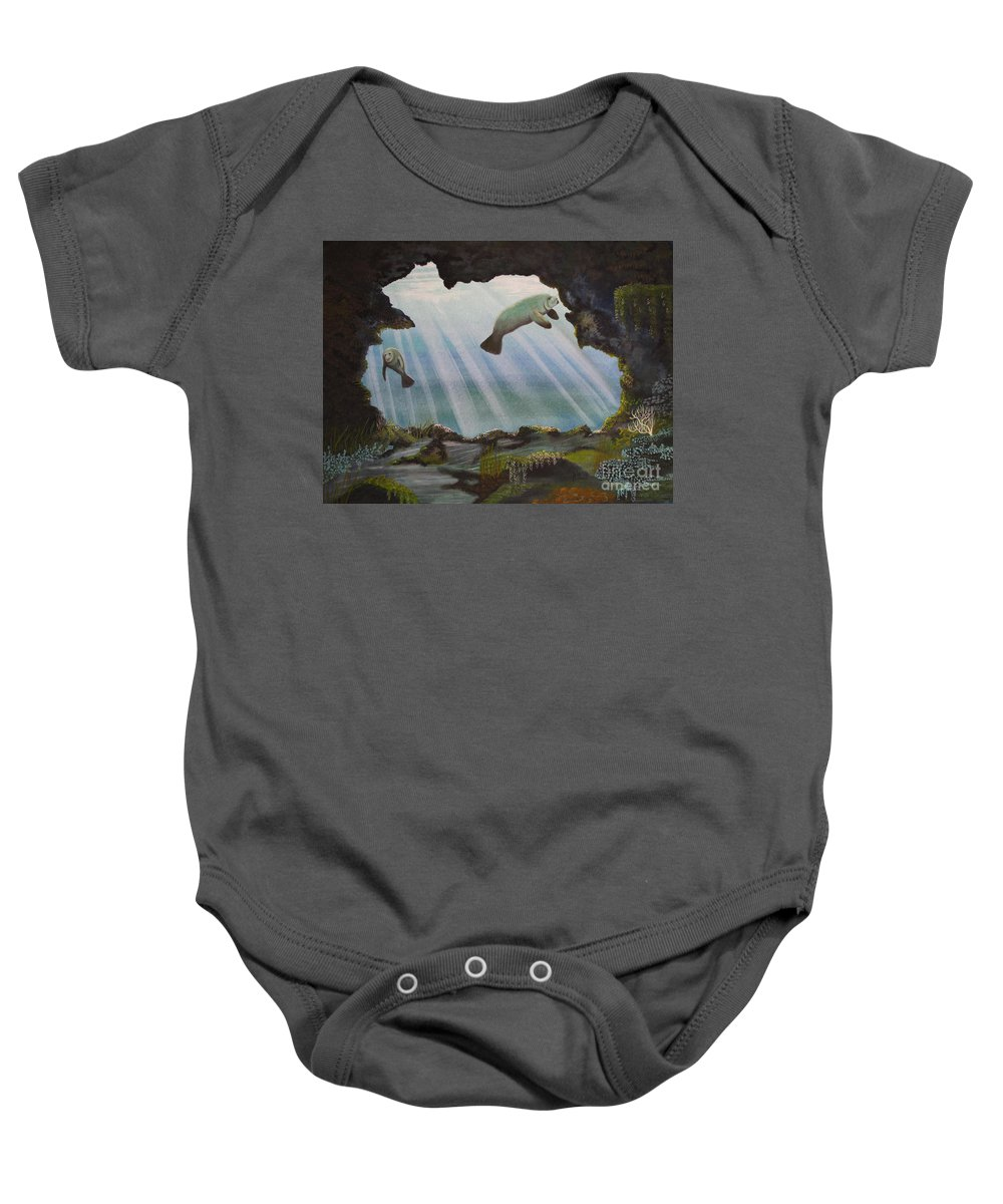 Manatee Baby Onesie featuring the painting Manatee Cave by Kris Crollard