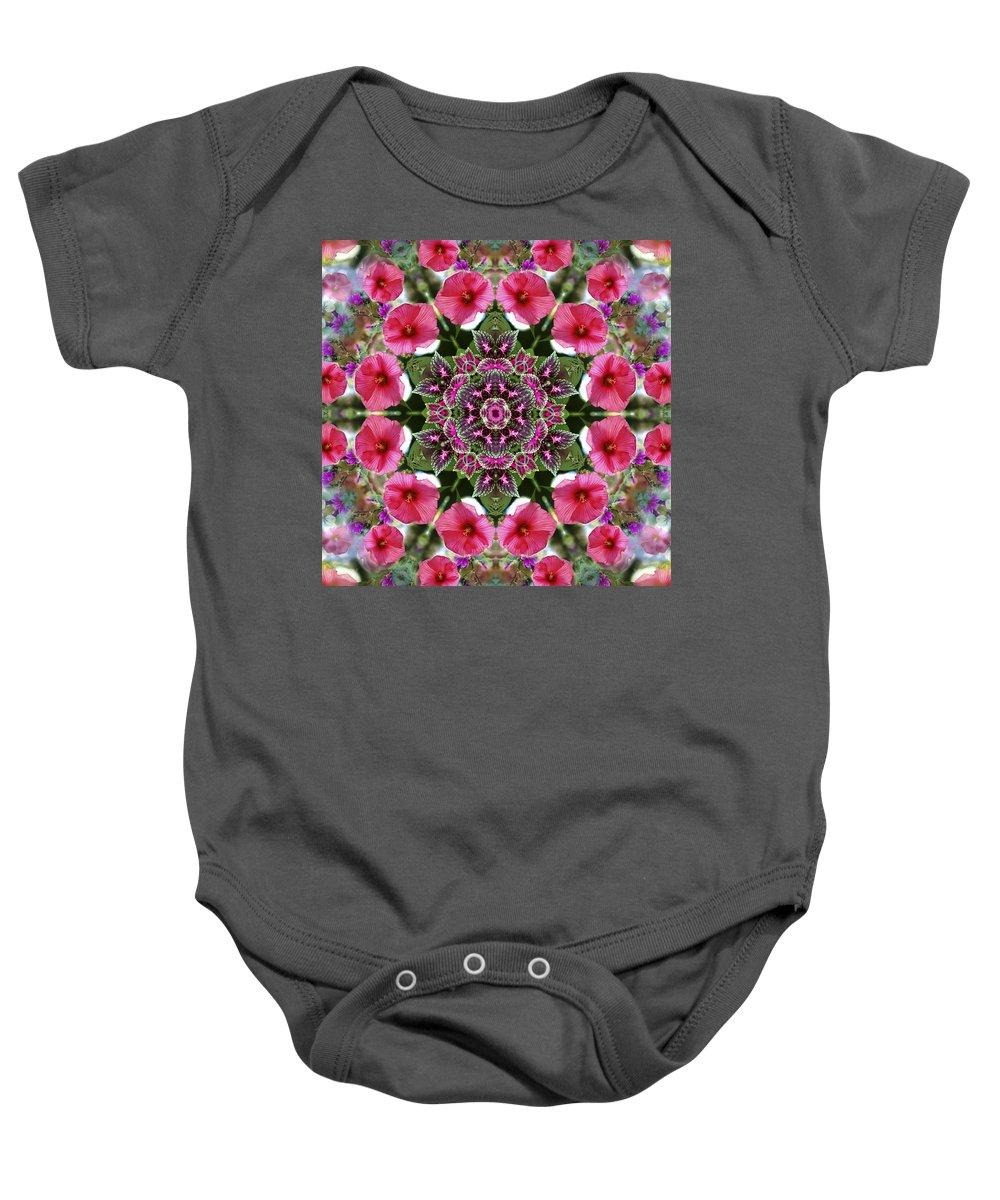 Mandala Baby Onesie featuring the digital art Mandala Pink Patron by Nancy Griswold