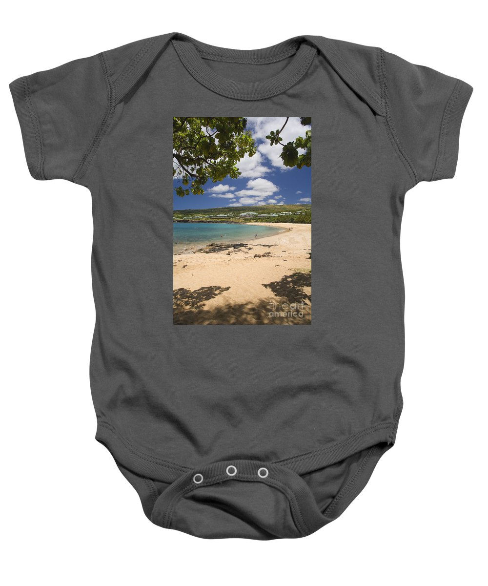 Bay Baby Onesie featuring the photograph Manele Bay by Ron Dahlquist - Printscapes
