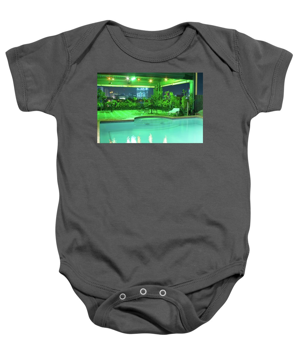 Insogna Baby Onesie featuring the photograph Mango Park Hotel Roof Top Pool by James BO Insogna