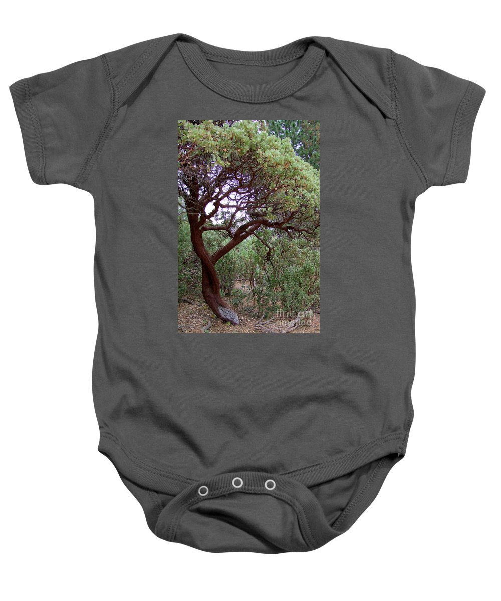 Manzanita Tree Baby Onesie featuring the photograph Manzanita Tree By The Road by Mary Deal
