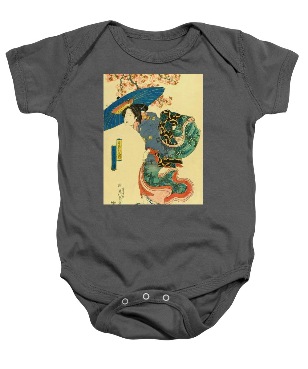 March Baby Onesie featuring the painting March Cherry Blossom Viewing 1844 by Eisen Keisai