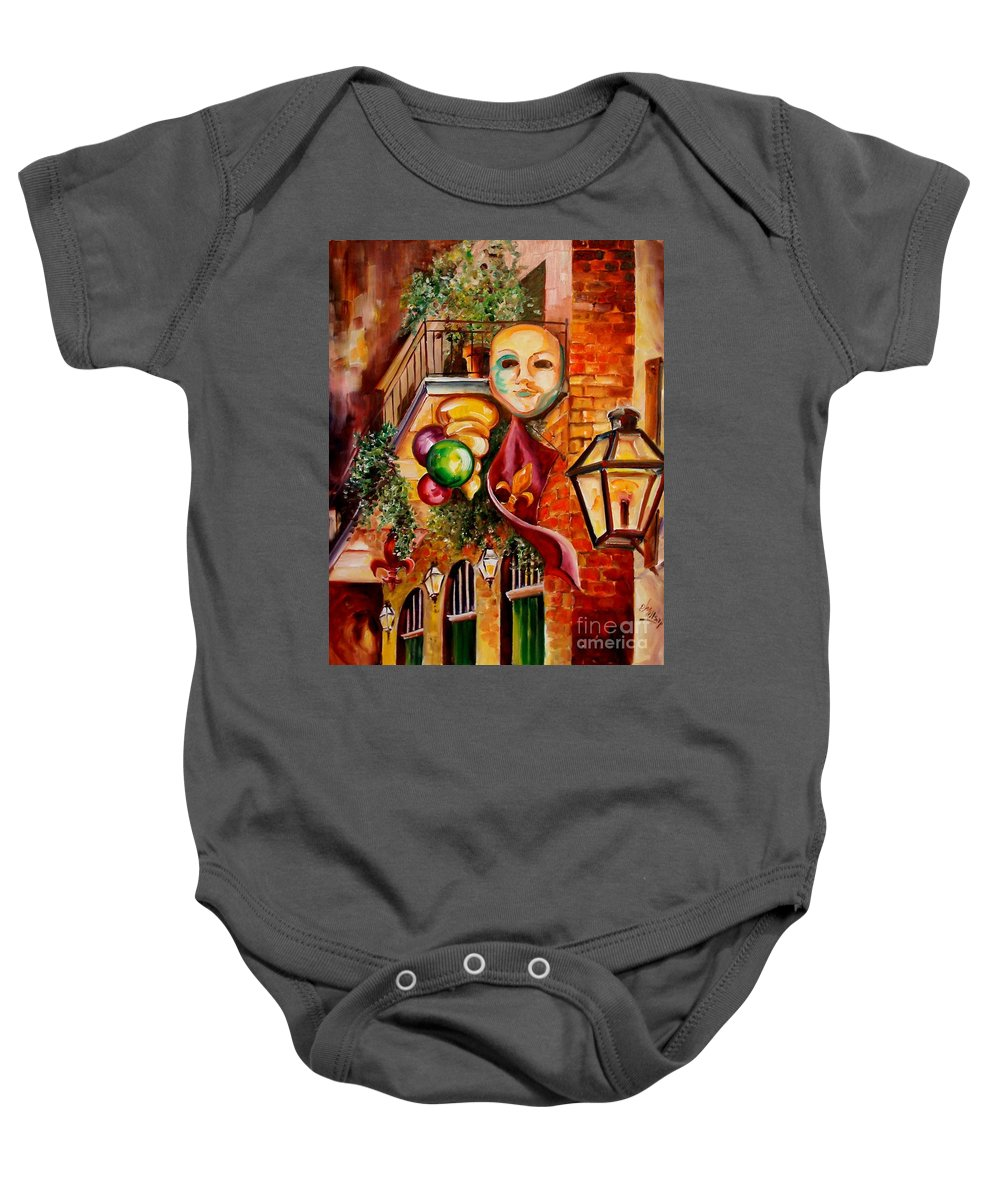 New Orleans Baby Onesie featuring the painting Mardi Gras Night by Diane Millsap