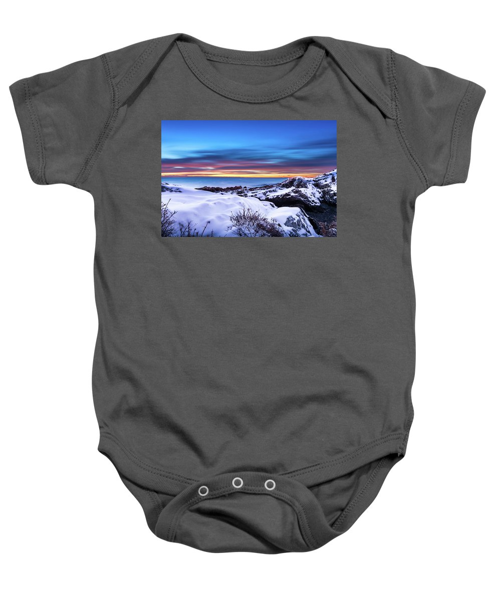 Maine Baby Onesie featuring the photograph Marginal Way Presunrise Christmas Eve by Dennis Dube