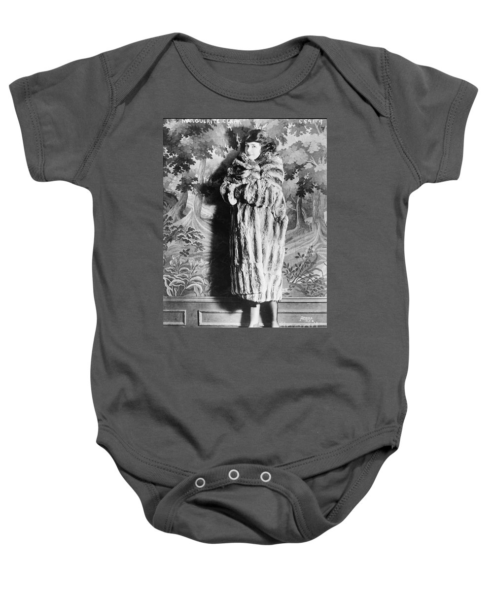 Silent Film Star Baby Onesie featuring the photograph Marguerite Clark - Silent Film Star by Sad Hill - Bizarre Los Angeles Archive