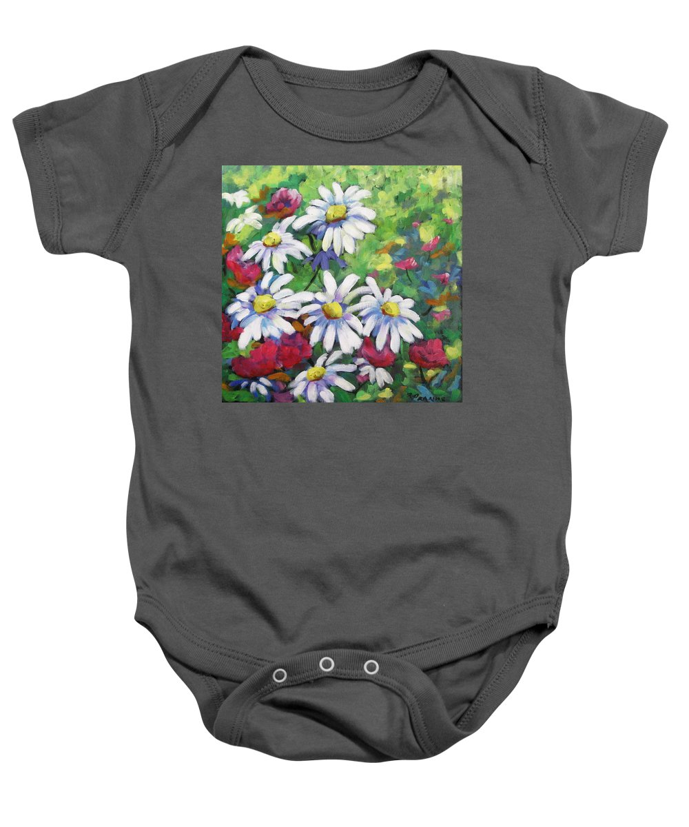 Fleurs Baby Onesie featuring the painting Marguerites 001 by Richard T Pranke