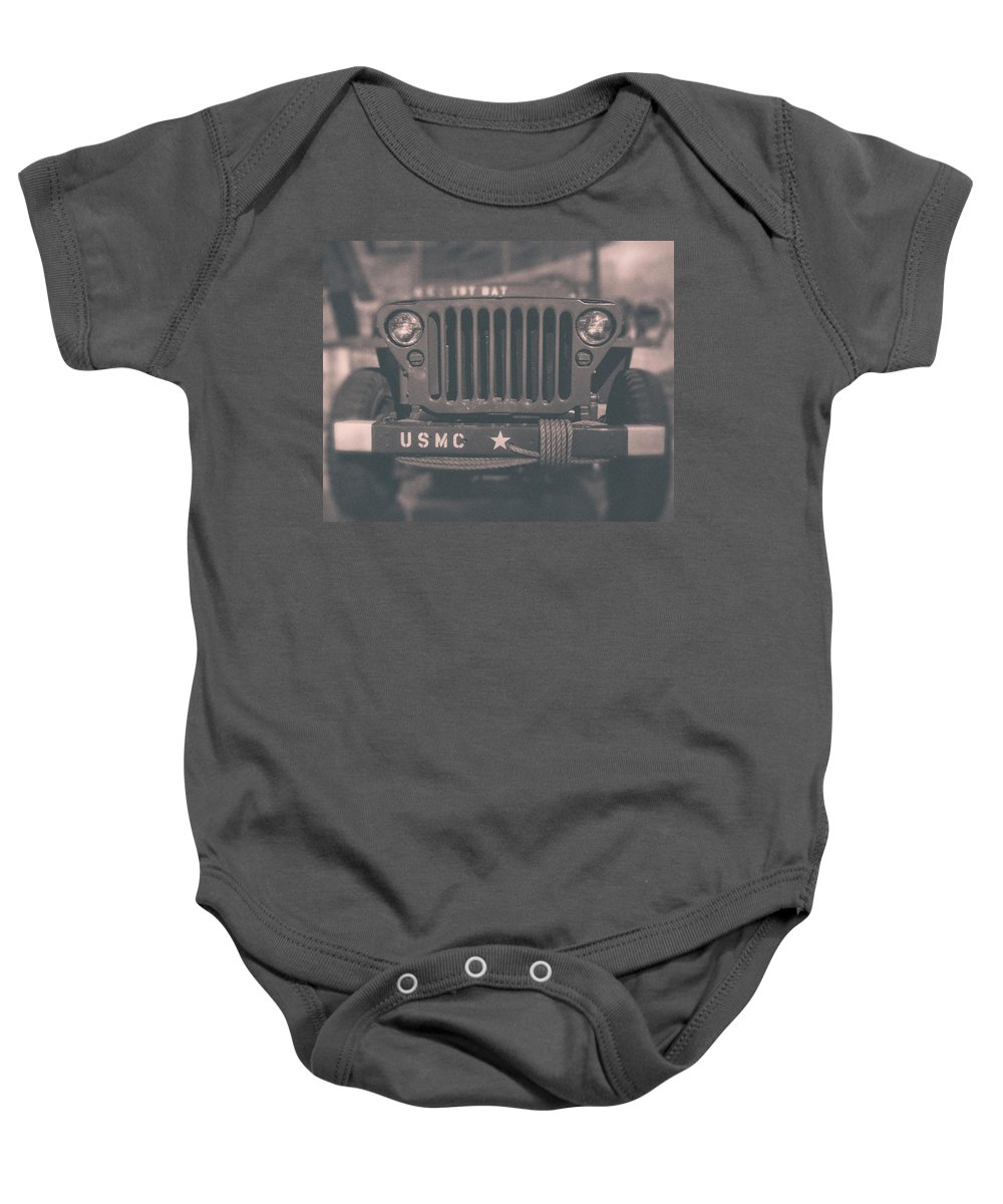 Baby Onesie featuring the photograph Marine Corps Jeep In Black And White by Emily Kay