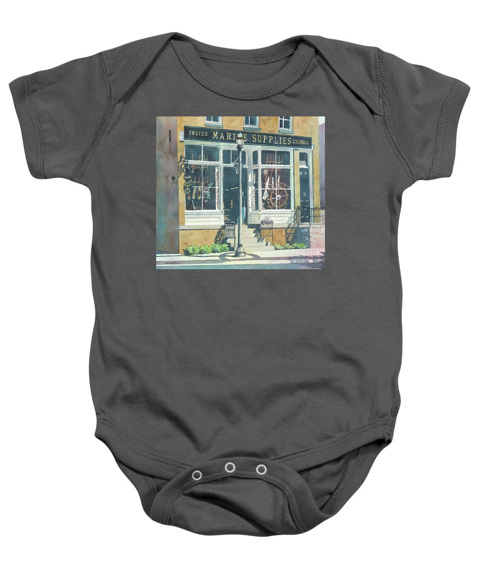 Storefronts Baby Onesie featuring the painting Marine Supply Store by LeAnne Sowa