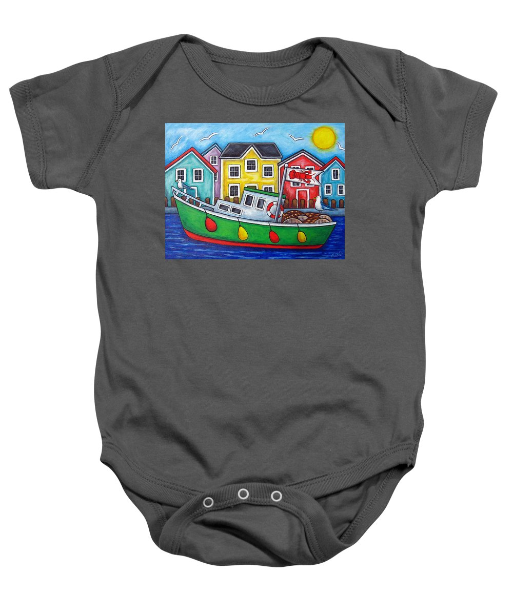 Lisa Lorenz Baby Onesie featuring the painting Maritime Special by Lisa Lorenz