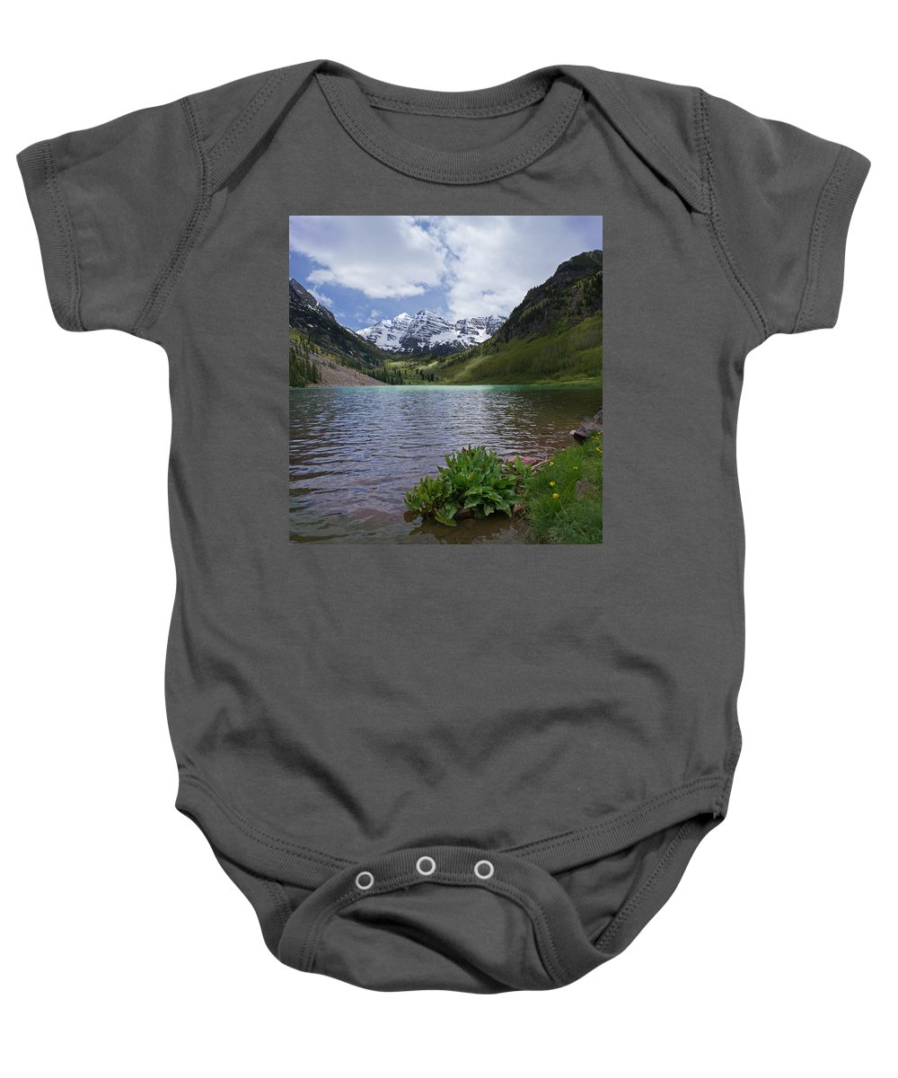 Aspen Baby Onesie featuring the photograph Maroon Bells Spring by Heather Coen