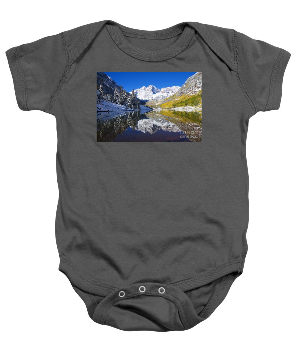 Aspen Baby Onesie featuring the photograph Maroon Lake And Bells 1 by Ron Dahlquist - Printscapes
