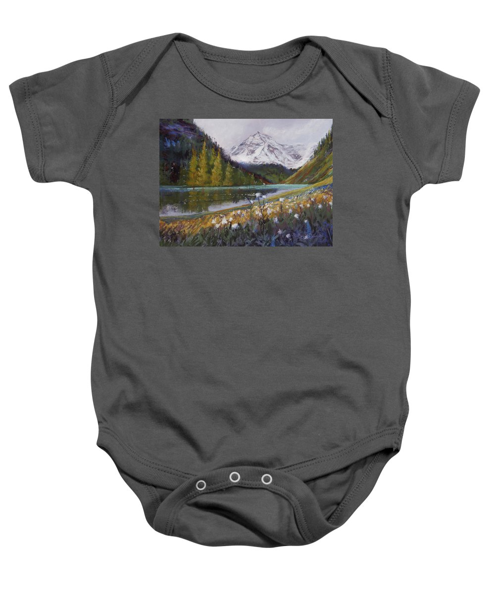 Maroon Lake Baby Onesie featuring the photograph Maroon Lake by Heather Coen