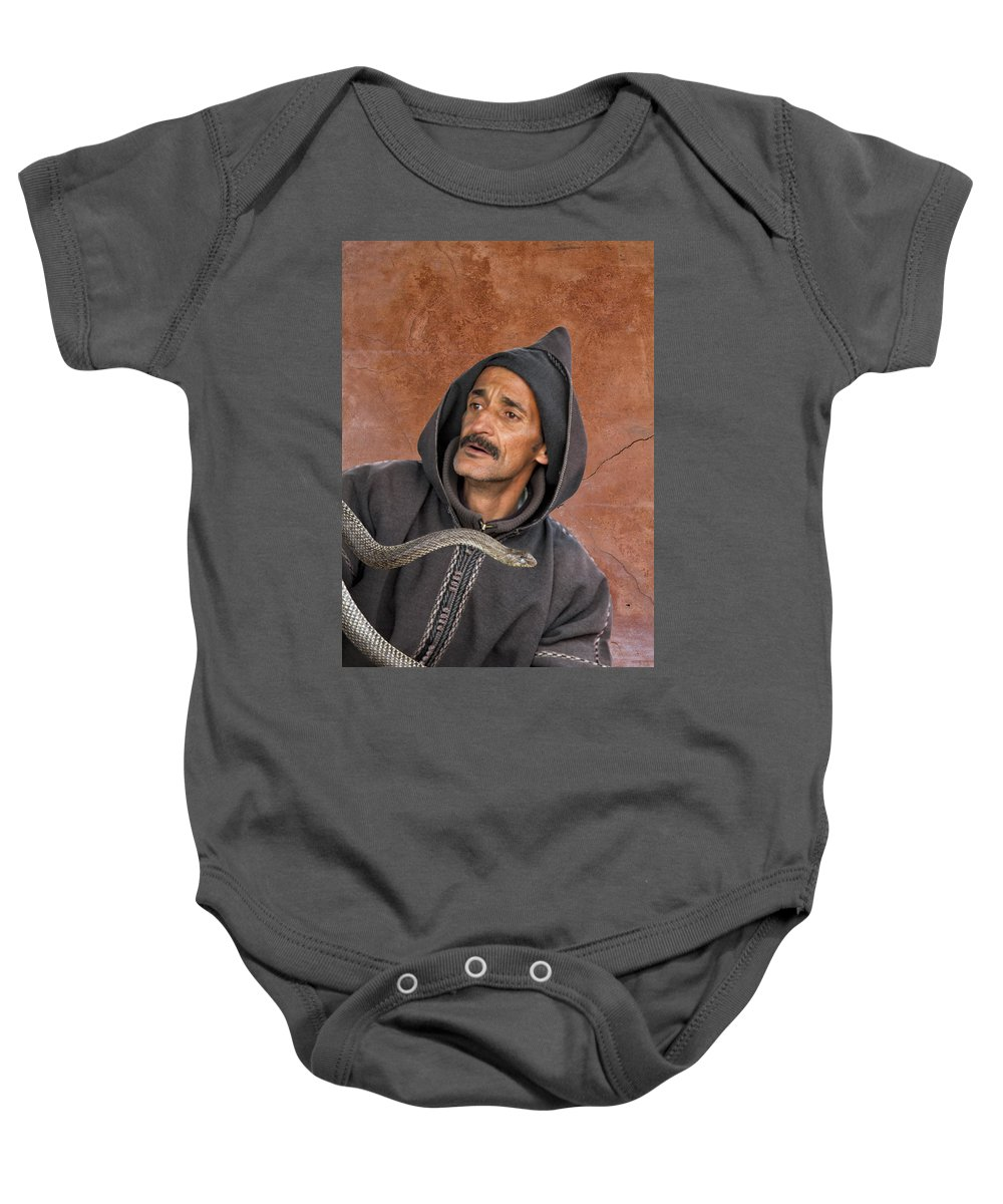 Morocco Baby Onesie featuring the photograph Marrakech Snake Charmer by Lindley Johnson