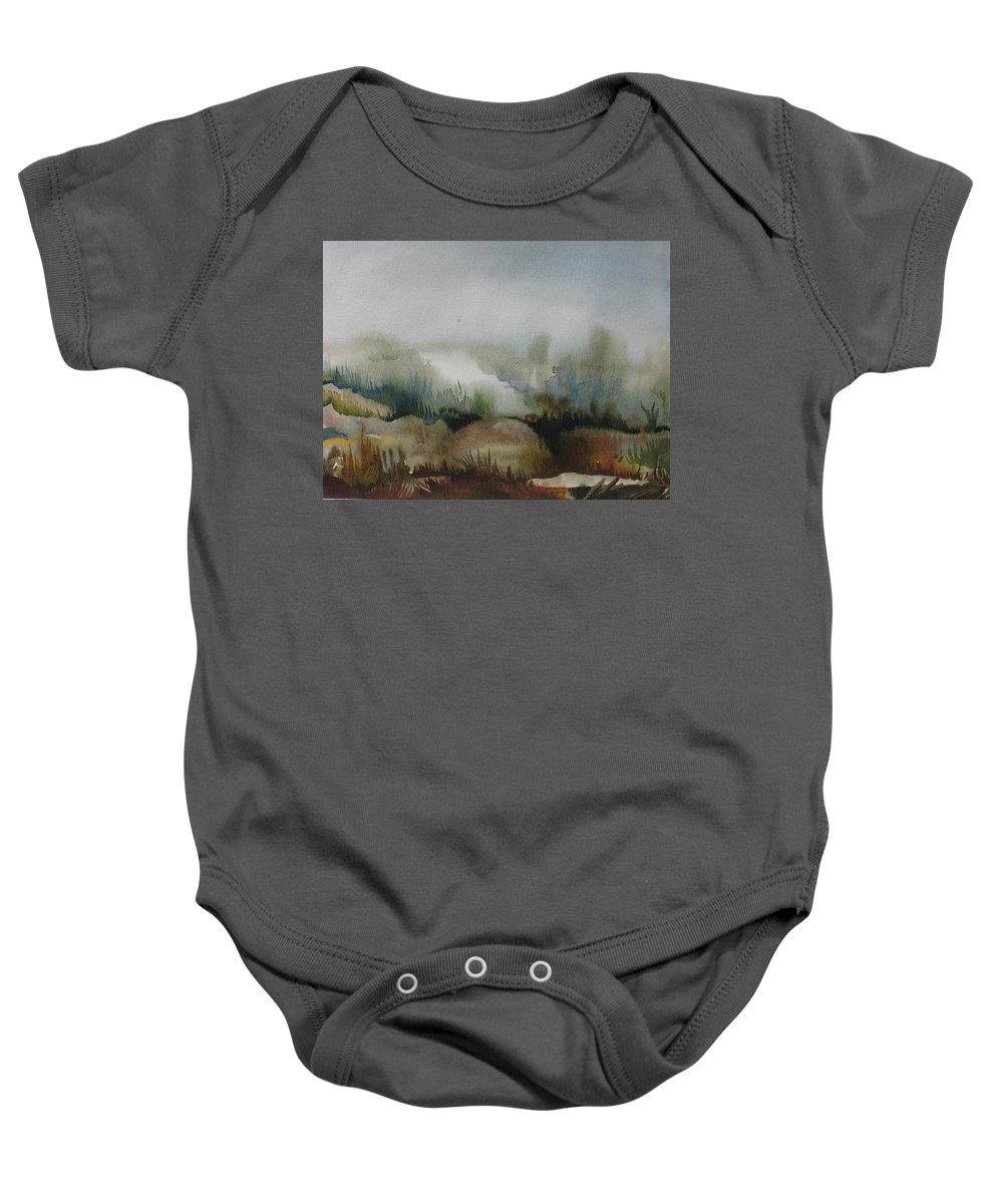 Marsh Baby Onesie featuring the painting Marsh by Anna Duyunova