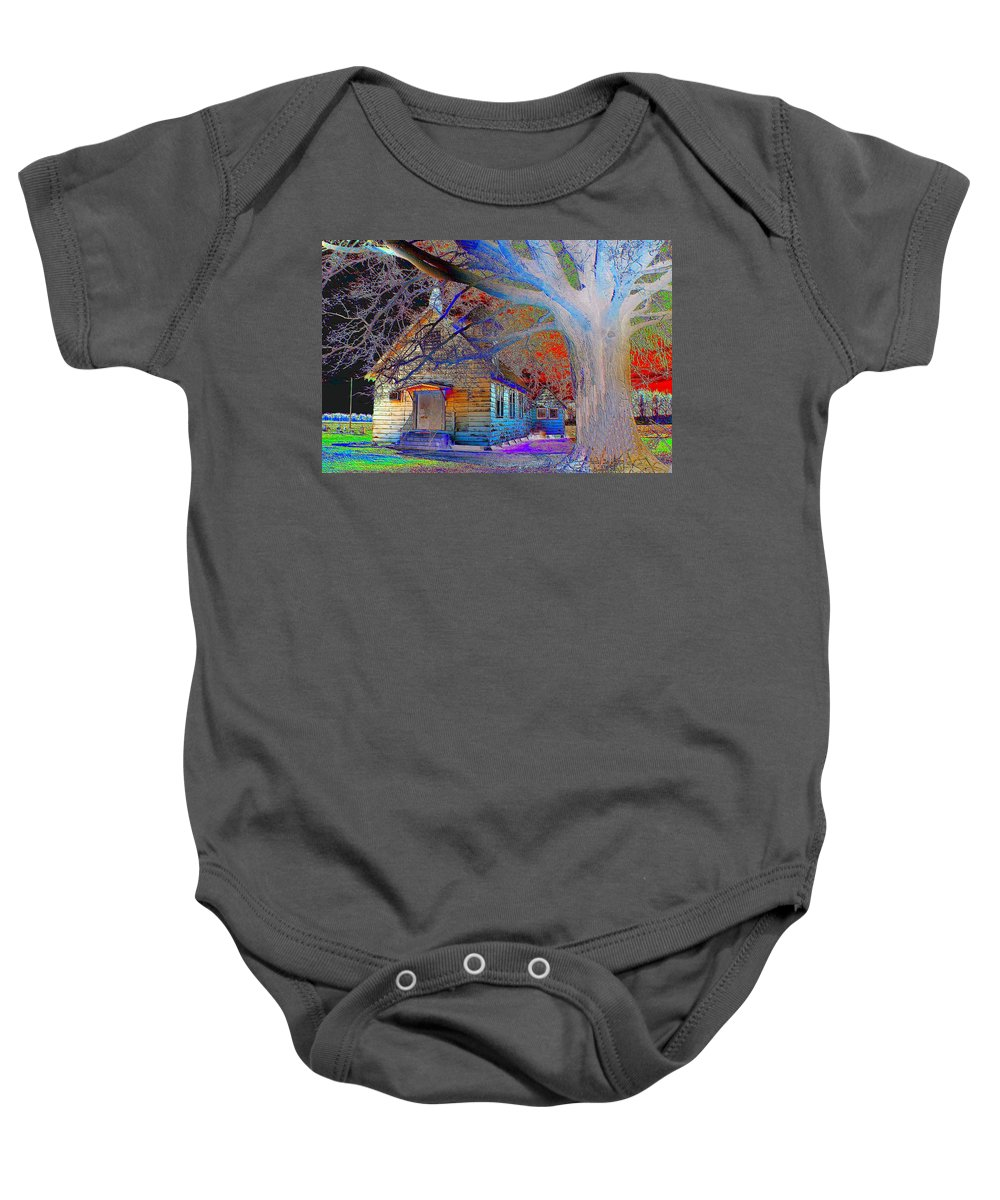 Color Baby Onesie featuring the photograph Marsh Berea Mb Church In Color by Karen Wagner