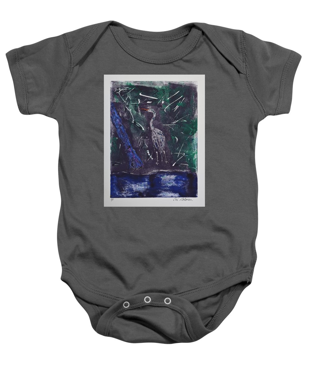 Monotype Baby Onesie featuring the mixed media Marsh Magic by Cori Solomon