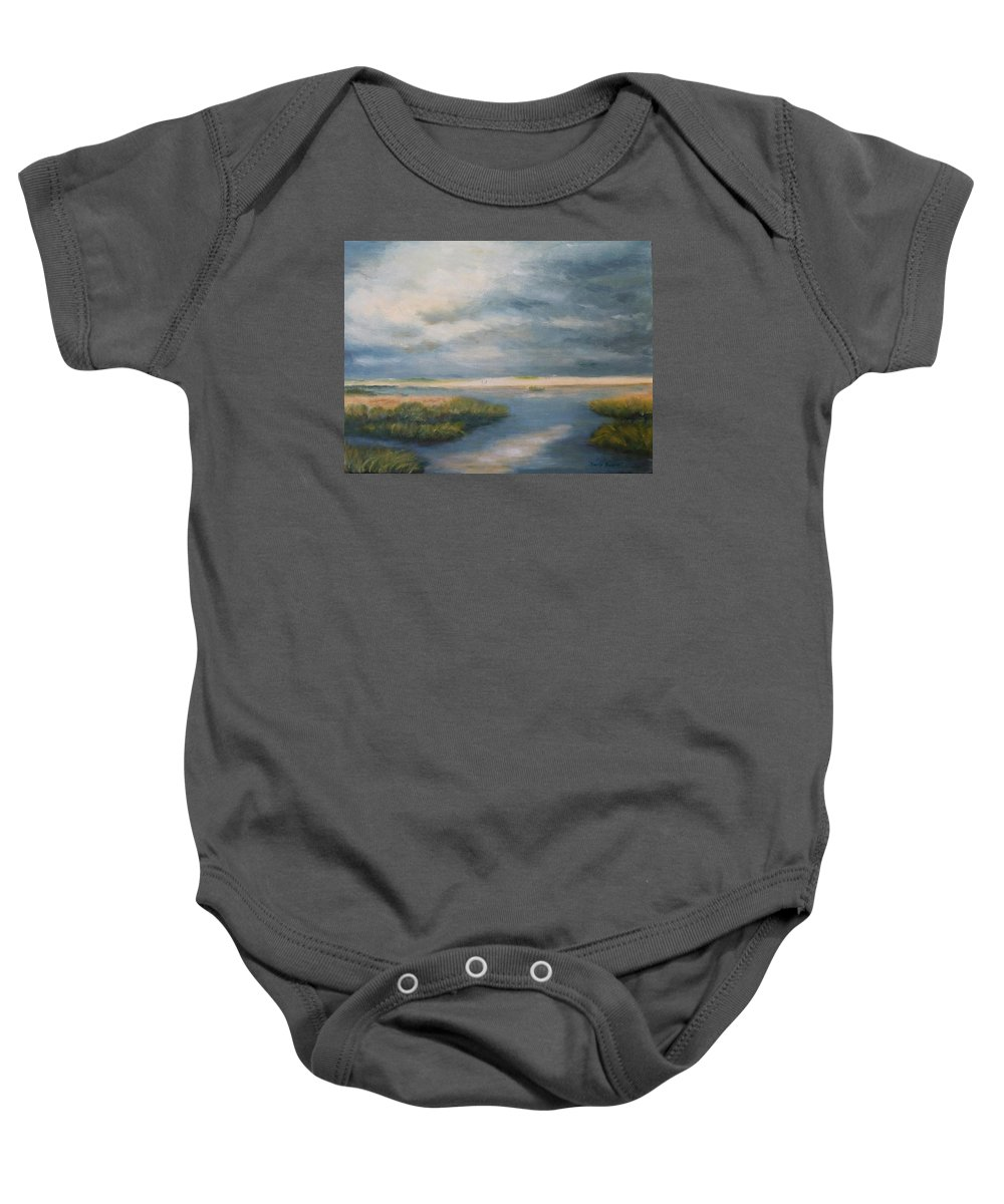 Landscape Baby Onesie featuring the painting Marsh View by Sandra Bourret