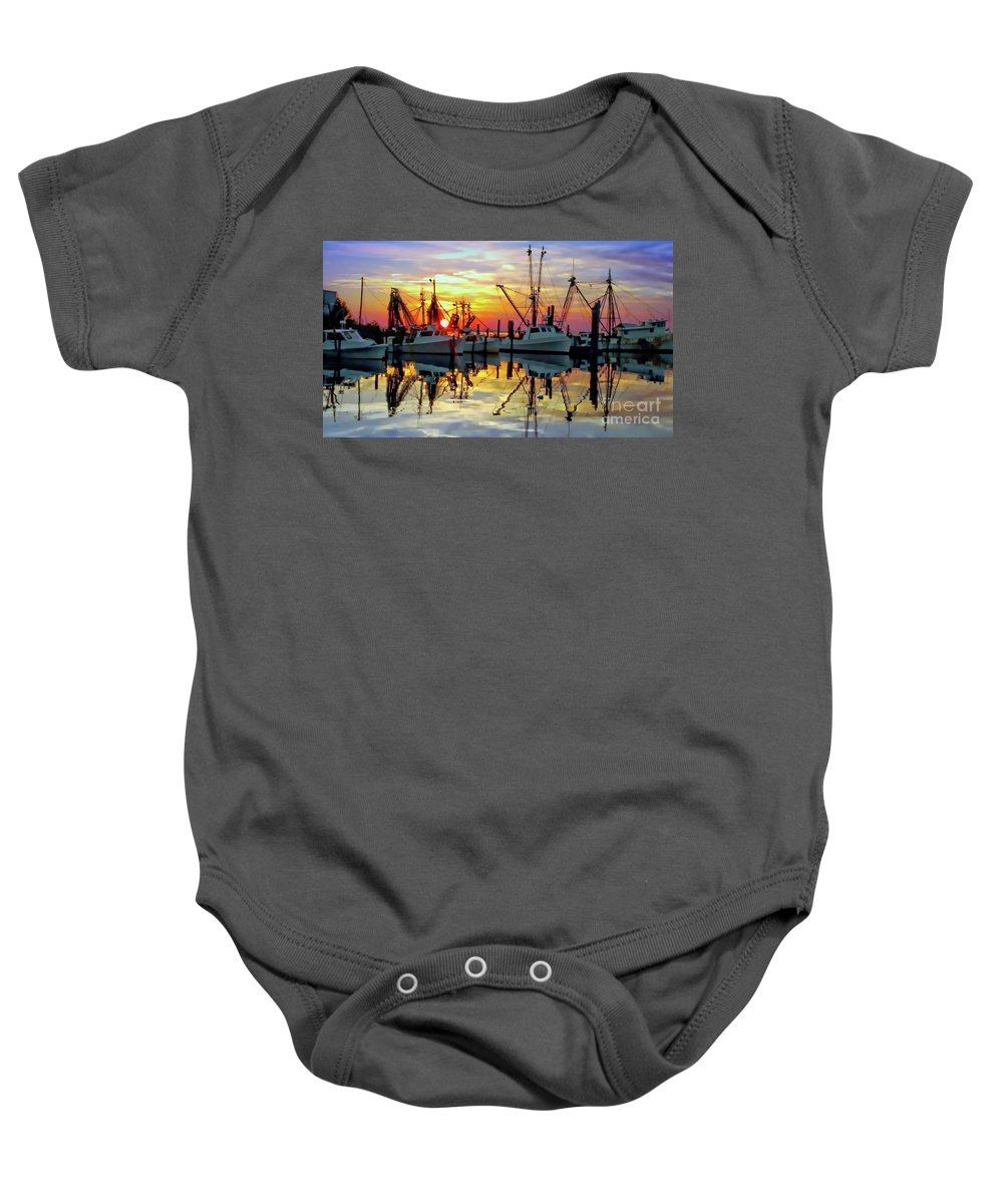 Sunset Baby Onesie featuring the photograph Marshallberg Harbor Sunset by Benanne Stiens