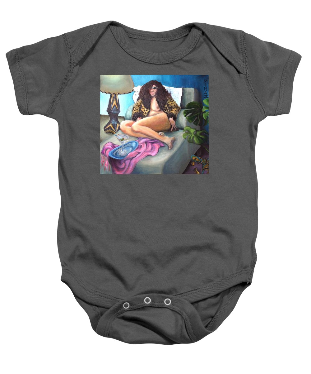 Nude Baby Onesie featuring the painting Martini Eclectic by Minaz Jantz