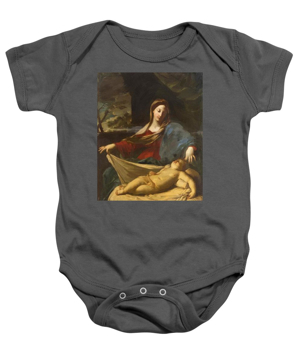 Mary Baby Onesie featuring the painting Mary With Child 1635 by Reni Guido