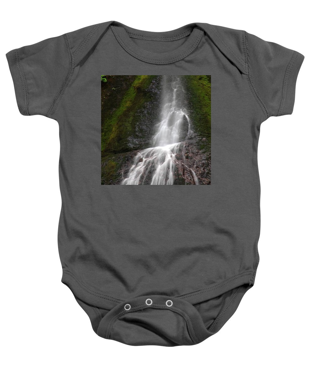 Columbia Gorge Baby Onesie featuring the photograph Marymere Falls 2 by Ingrid Smith-Johnsen