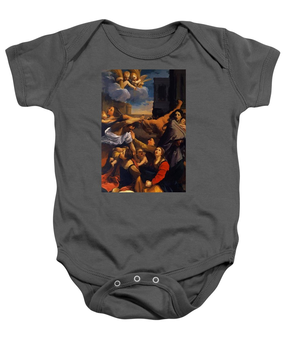 Massacre Baby Onesie featuring the painting Massacre Of The Innocents 1611 by Reni Guido