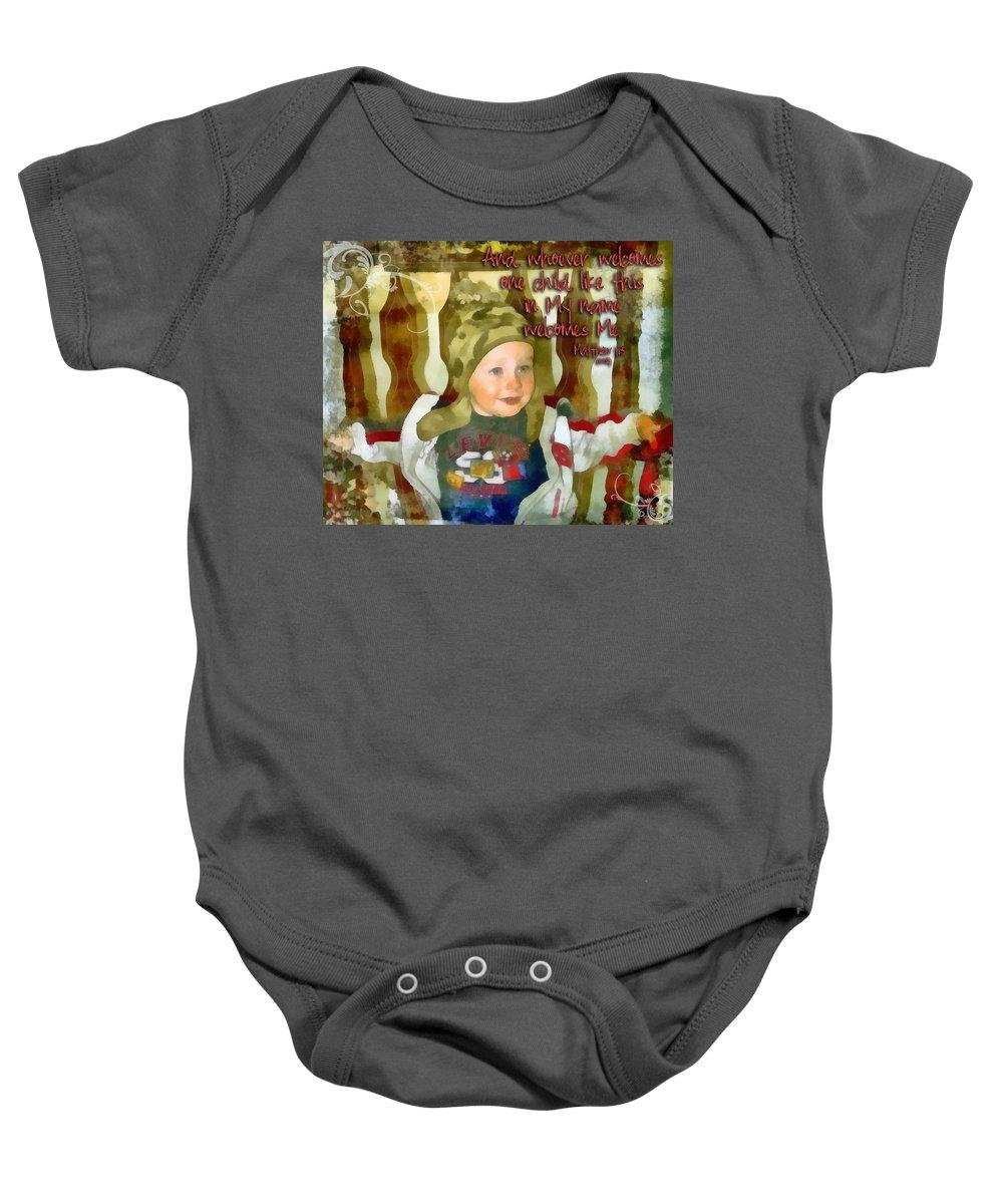 Jesus Baby Onesie featuring the digital art Matthew 18 5 by Michelle Greene Wheeler